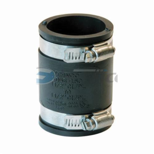 Fernco® 1056-150 Flexible Pipe Coupling, 1-1/2 in Nominal, Plastic End Style, PVC, Domestic