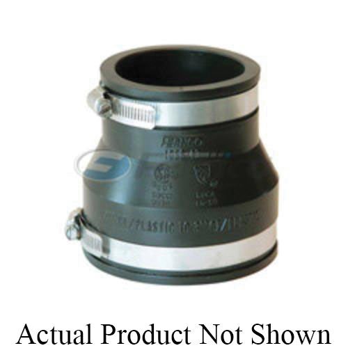 Fernco® 1056-43 Flexible Pipe Coupling, 4 x 3 in Nominal, Cast Iron/Plastic End Style, PVC, Domestic