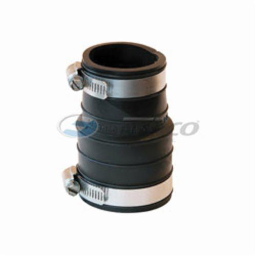 Fernco® 1059-150 Flexible Pipe Coupling, 1-1/2 in Nominal, Plastic Socket x Plastic/Cast Iron End Style, PVC, Domestic