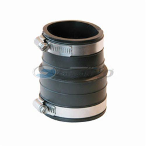 Fernco® 1059-22 Flexible Pipe Coupling, 2 in Nominal, Plastic Socket x Plastic/Cast Iron End Style, PVC, Domestic