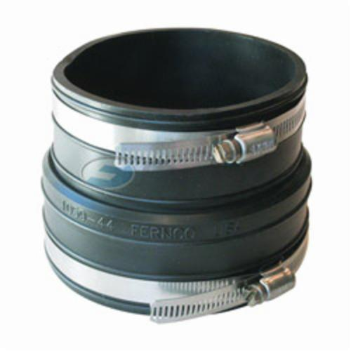 Fernco® 1059-44 Flexible Pipe Coupling, 4 in Nominal, Plastic Socket x Plastic/Cast Iron End Style, PVC, Domestic