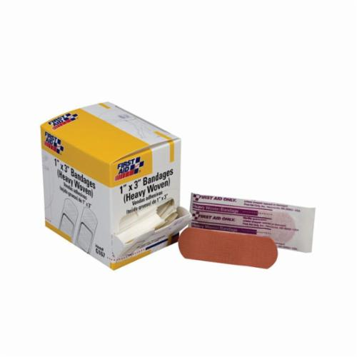First Aid Only® 1-080 Adhesive Bandage, Latex-Free, Junior Strip, 0.375 in WD X 1.5 in LG, Plastic, Beige, Box