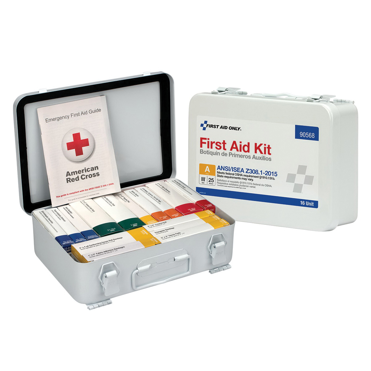 Mallory MALSA-FAK24PBA Portable First Aid Kit, Wall Mount, 183 Bulk Packed Components, Plastic Case