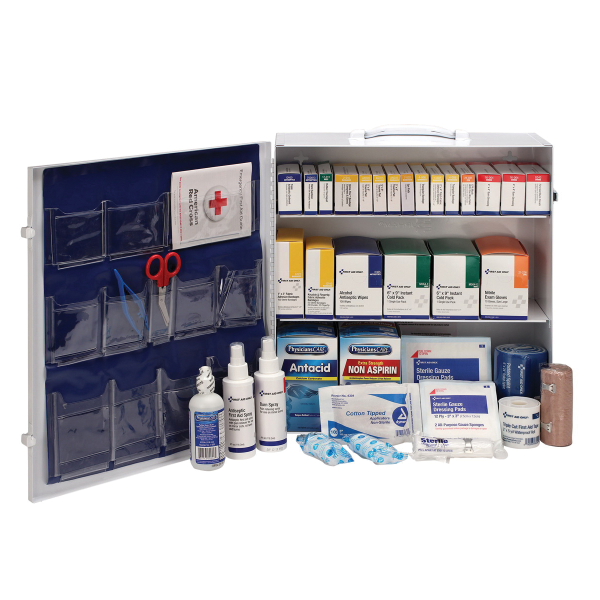Mallory MALSA-FAK16MUA Portable Weatherproof First Aid Kit, Wall Mount, 82 Unitized Components, Metal Case