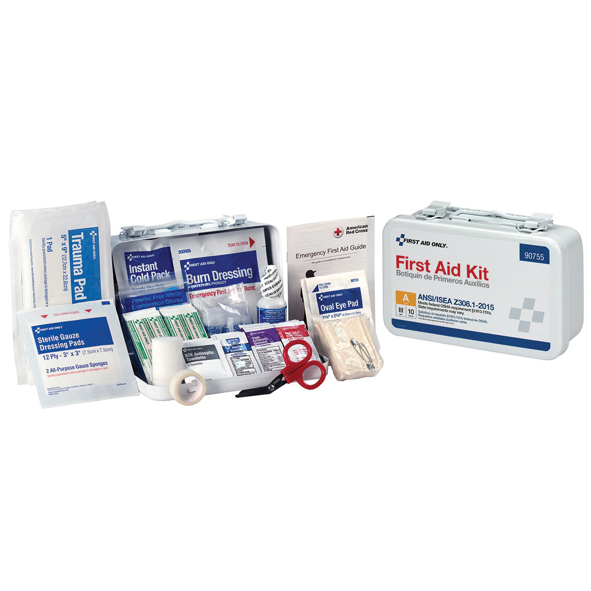 Mallory First Aid Kit, Surface Mount, 71 Components, Plastic Case, 8 in H x 5 in W x 2-3/4 in D