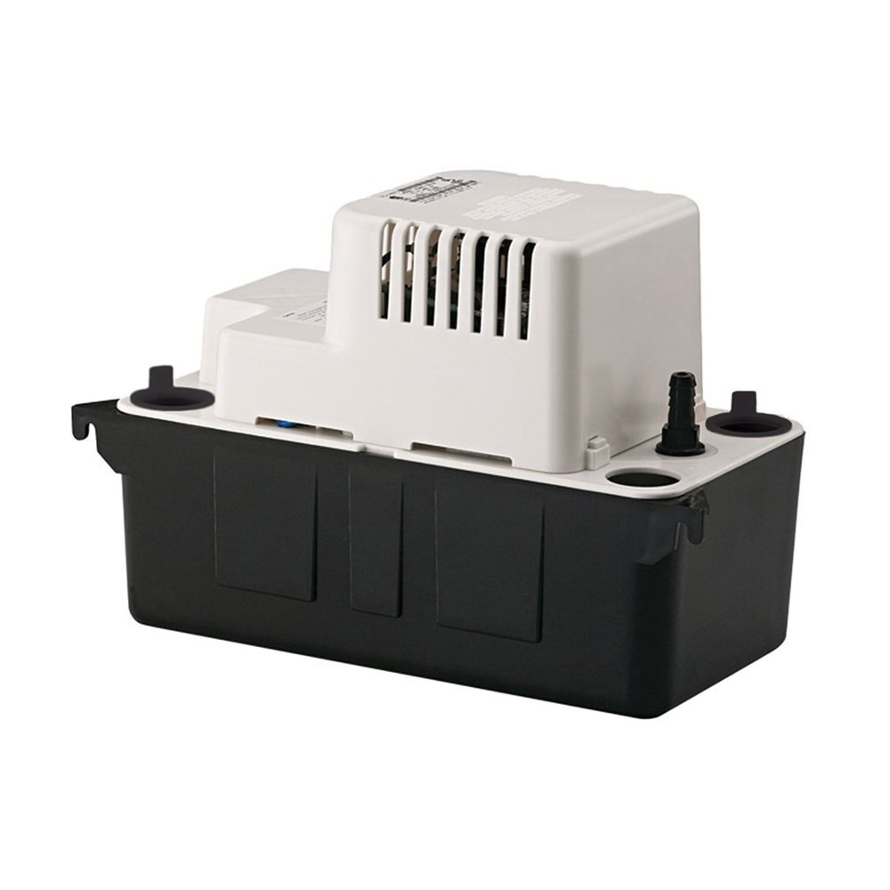 Little Giant® 554425 VCMA-20 Automatic Condensate Removal Pump, 80 gph Flow Rate, 1-1/8 in Inlet x 3/8 in OD Barbed Outlet, 20 ft Shutoff Head, 93 W Power Rating