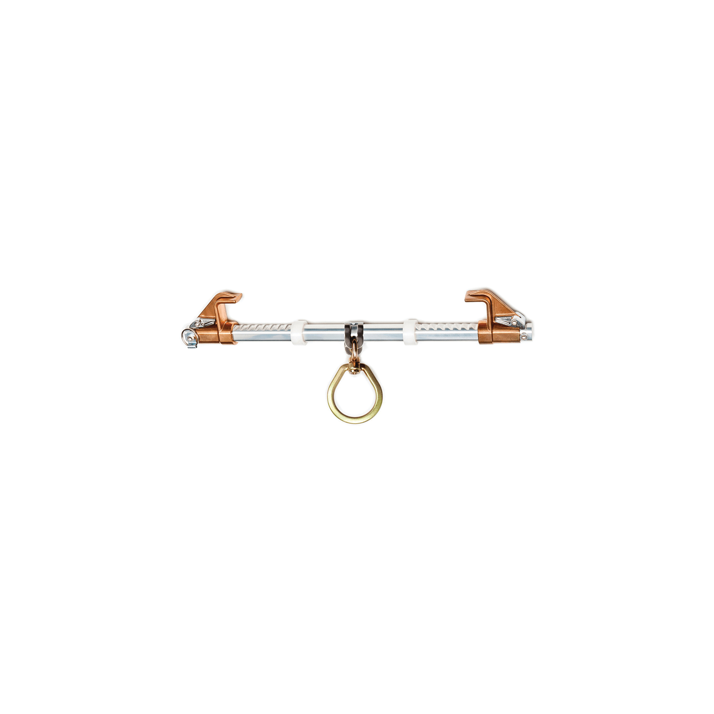 GUARDIAN FALL PROTECTION 00101 BEAMER® 2000 Sliding Beam Anchor With Swivel D-Ring, For Use With 3-1/2 to 14 in Beams and 1-1/4 in THK Flange, Aluminum/Bronze Manganese/Zinc Plated Steel/Stainless Steel