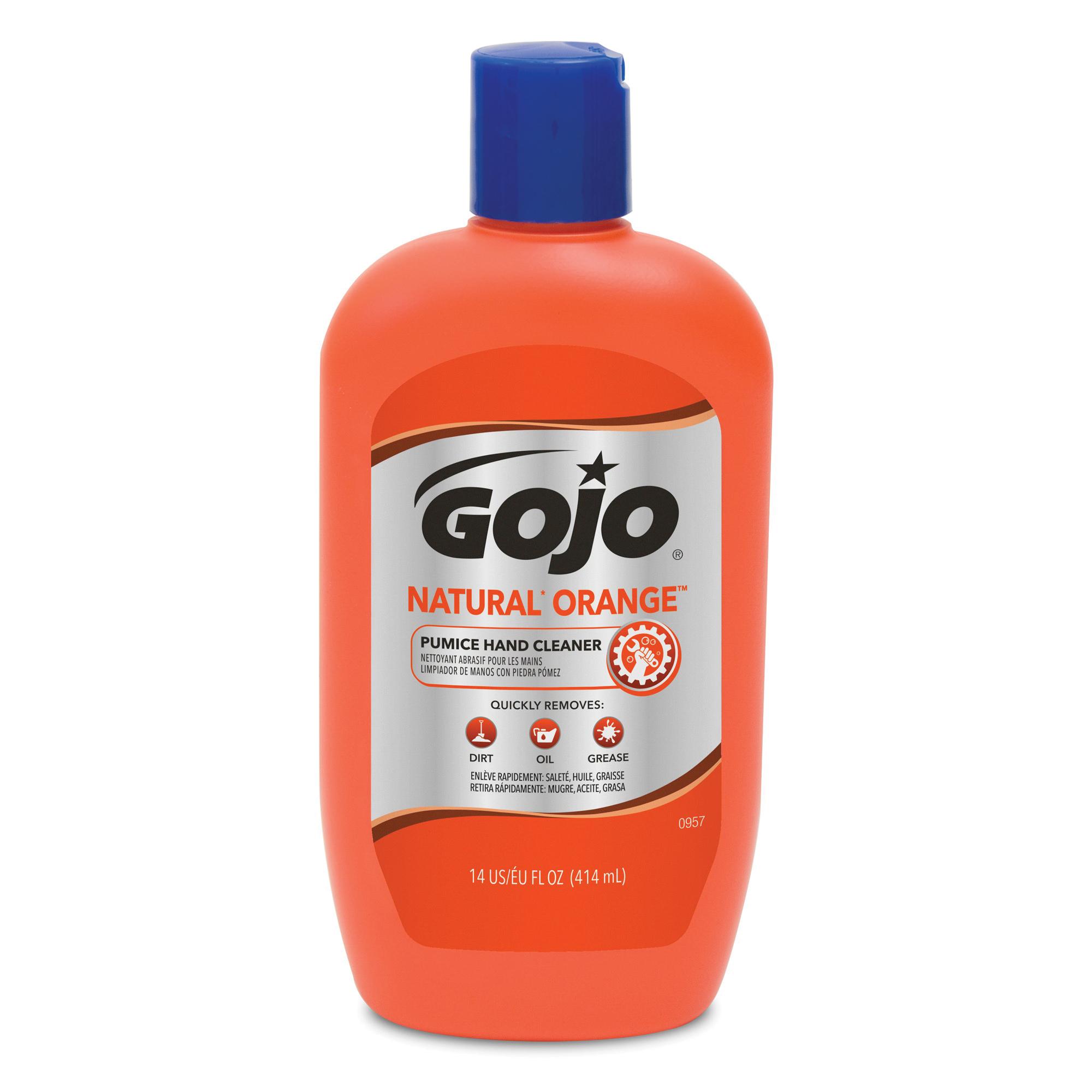 GOJO® 0955-04 NATURAL ORANGE™ Pumice Hand Cleaner, 1 gal, Pump Bottle, Liquid, Citrus, White