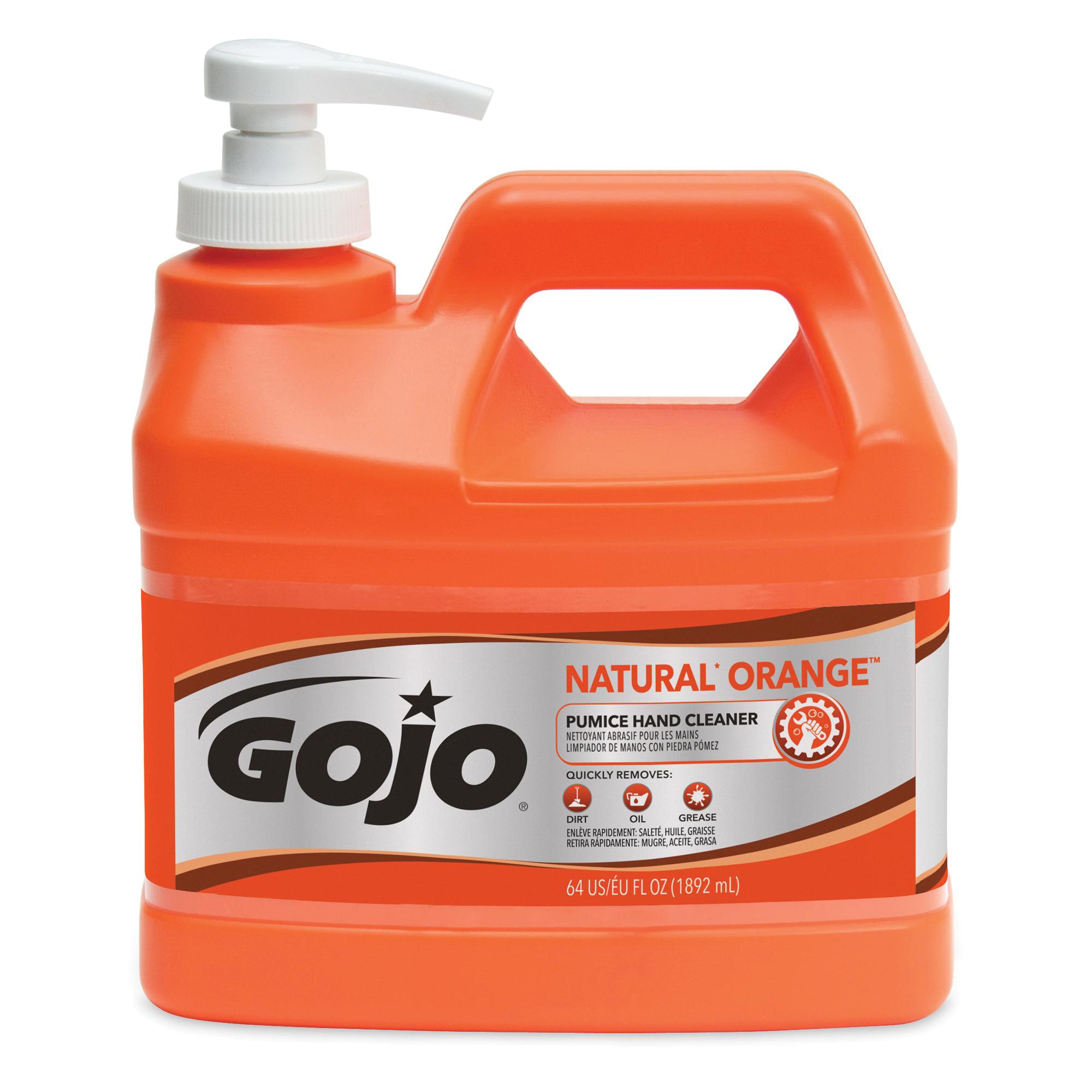 GOJO® 0957-12 NATURAL ORANGE™ Pumice Hand Cleaner With Pumice Scrubbers, 14 fl-oz, Squeeze Bottle, Liquid, Citrus, Orange