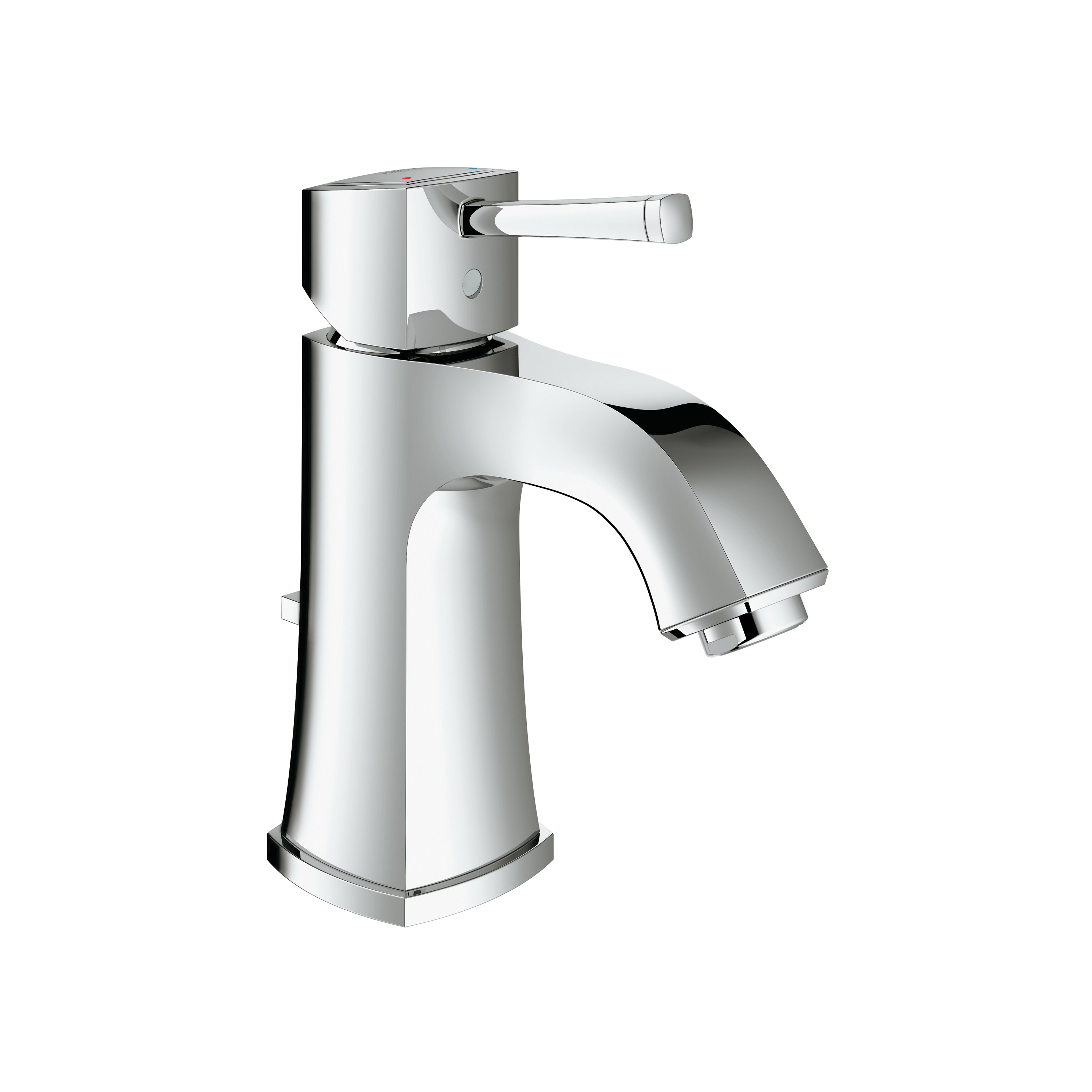 GROHE 2331100A Grandera™ Medium Bathroom Faucet With Temperature Limiter, 1.2 gpm Flow Rate, 3-1/4 in H Spout, 1 Handles, Pop-Up Drain, 1 Faucet Holes, StarLight® Polished Chrome, Function: Traditional