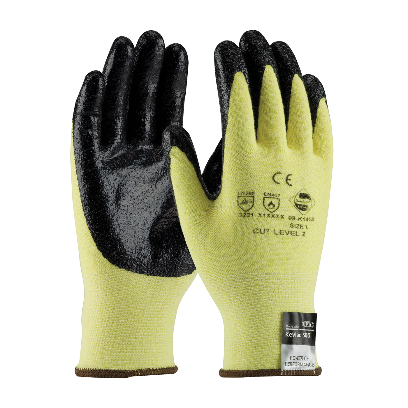 G-Tek® KEV™ 09-K1450/L Cut Resistant Gloves, L, Nitrile Coating, Kevlar®/Lycra®, Elastic Knit Wrist Cuff, Resists: Abrasion, Cut, Puncture and Tear