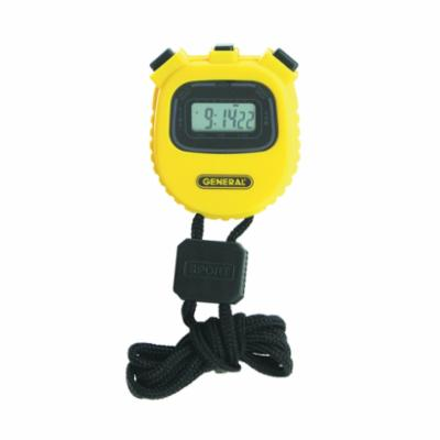 GENERAL® SW100A Digital Multi-Function Stopwatch, 0.99998842592592585 Range, LCD Display, CR2016 Battery, No Memory Recall