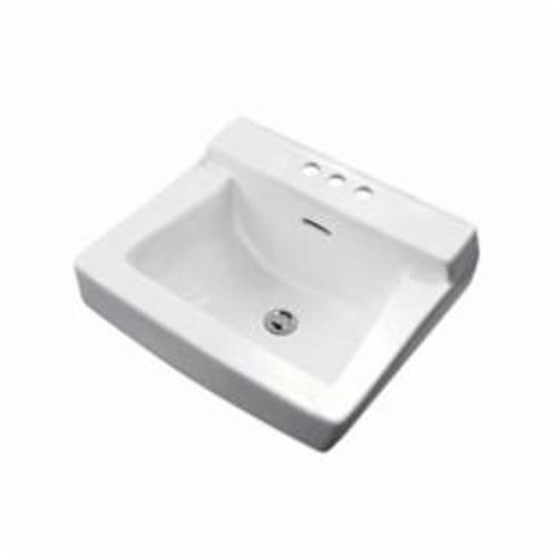 Gerber® 12-314 Plymouth™ Bathroom Sink With Consealed Front Overflow, Rectangular, 4 in Faucet Hole Spacing, 19 in W x 17 in D x 10-1/2 in H, Wall Mount, Vitreous China, White