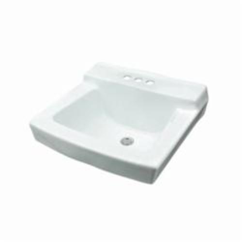 Gerber® 12-384 Hayes™ Bathroom Sink With Consealed Front Overflow, Rectangular, 4 in Faucet Hole Spacing, 20 in W x 18 in D x 10-1/2 in H, Wall Mount, Vitreous China, White