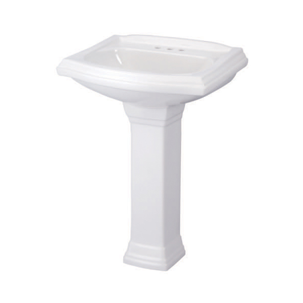 Gerber® 12-565 Allerton™ Bathroom Sink, 4 in Faucet Hole Spacing, 21-1/2 in W x 18-3/4 in D x 9-1/2 in H, Vitreous China, White