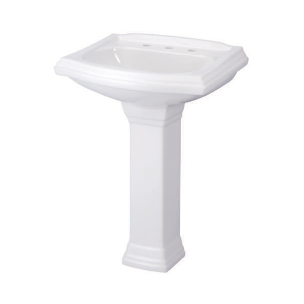 Gerber® 12-575 Allerton™ Bathroom Sink, 4 in Faucet Hole Spacing, 25-1/2 in W x 21 in D, Pedestal Mount, Vitreous China, White