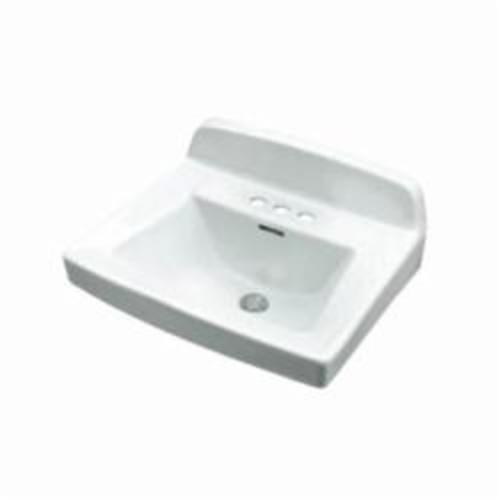Gerber® 12-654 Monticello™ II Bathroom Sink With Rear Overflow, Rectangular, 4 in Faucet Hole Spacing, 20-1/4 in W x 18-1/2 in D x 13 in H, Wall Mount, Vitreous China, White