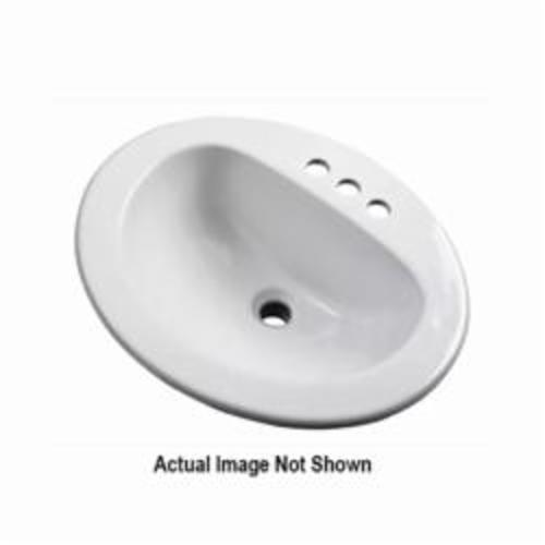 Gerber® 12-834-CH Self-Rimming Bathroom Sink With Concealed Overflow, Maxwell®, Oval Shape, 4 in Faucet Hole Spacing, 21 in W x 17-7/8 in D x 8-1/2 in H, Drop-In Mount, Vitreous China, White, Import