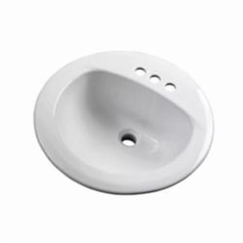 Gerber® 12-884-CH Self-Rimming Bathroom Sink With Consealed Front Overflow, Maxwell®, Round Shape, 4 in Faucet Hole Spacing, Drop-In Mount, Vitreous China, White