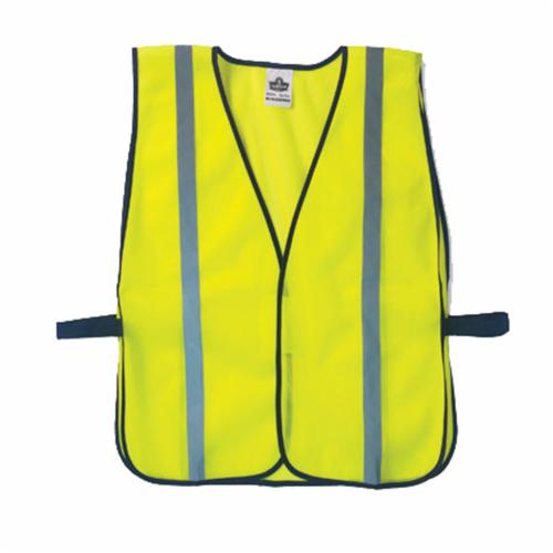 GloWear® 20020 8010HL Economy Non-Certified Safety Vest, Universal, Hi-Viz Lime, Polyester Mesh, Hook and Loop Closure