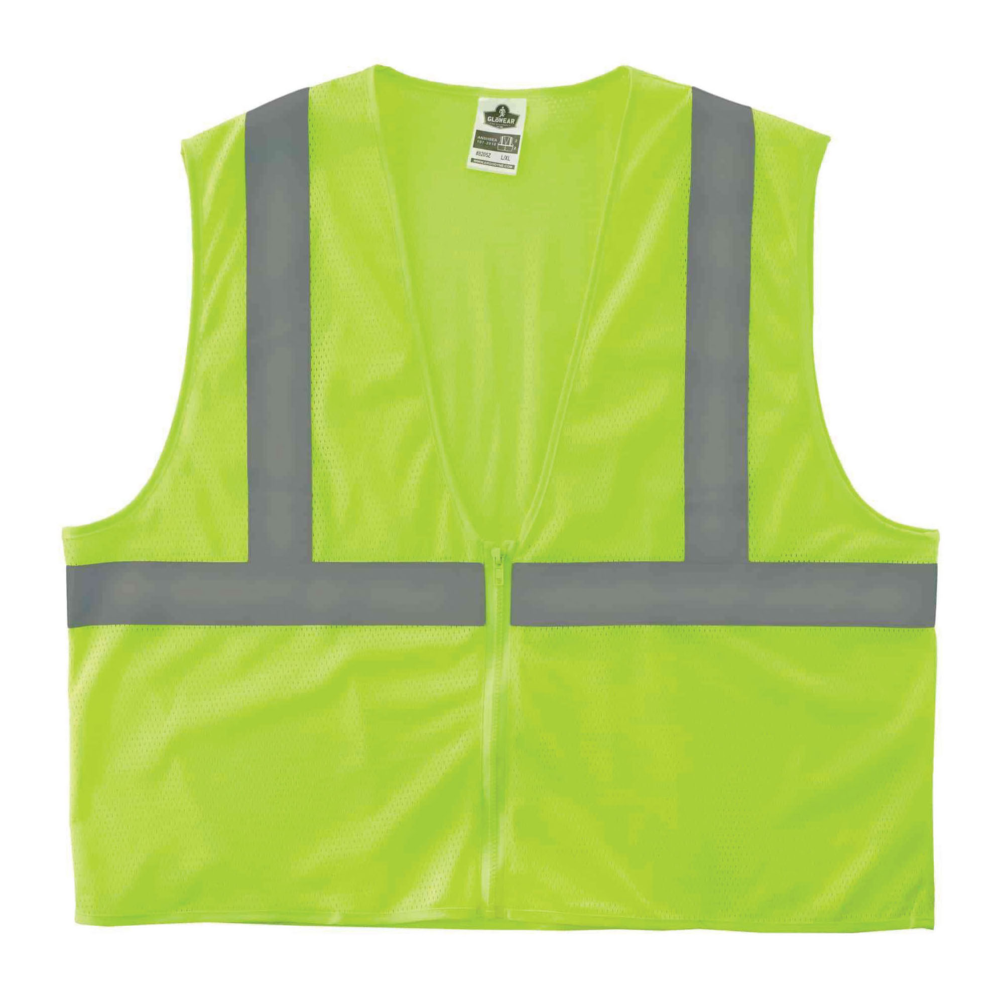 GloWear® 20977 8205HL Super Econo Vest, 2XL/3XL, Hi-Viz Lime, Polyester Mesh, Hook and Loop Closure, ANSI Class: Class 2, Specifications Met: ANSI/ISEA 107-2015 Type R