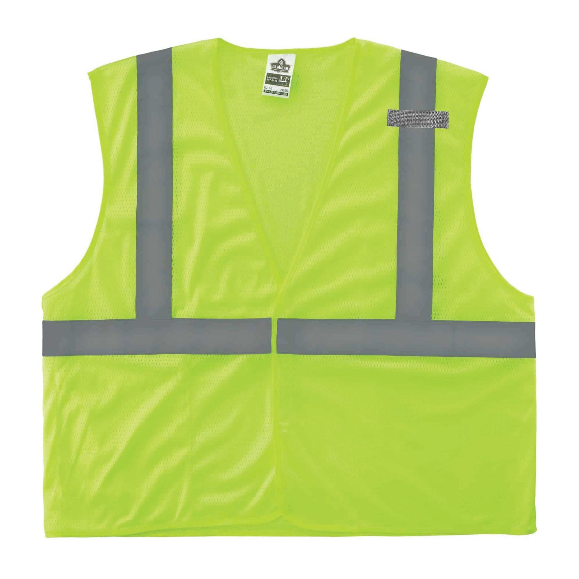 GloWear® 20995 8205Z Super Econo Vest, L to XL, Hi-Viz Lime, Polyester Mesh, Zipper Closure, ANSI Class: Class 2, ANSI/ISEA 107-2015 Type R