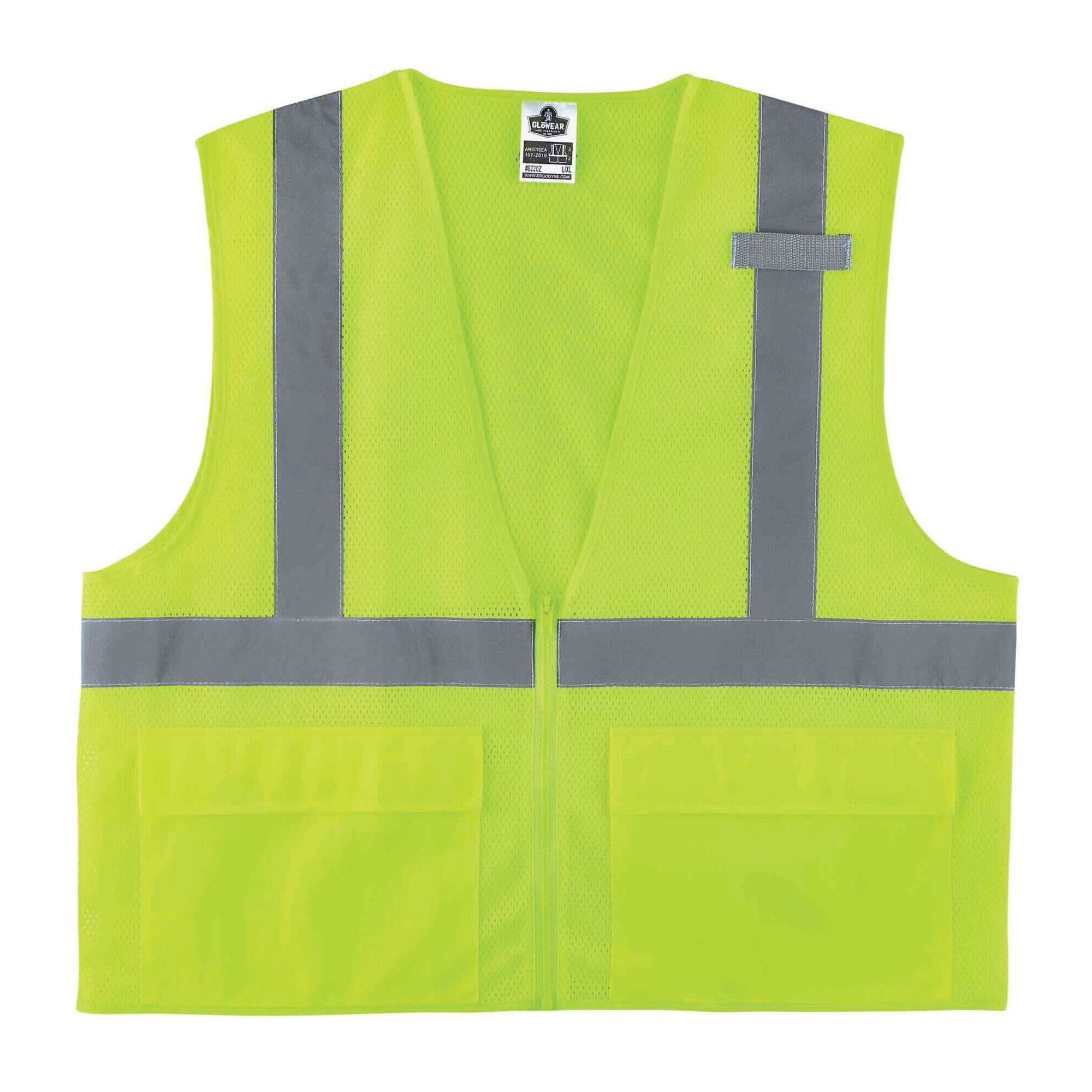 GloWear® 21073 8215BA Econo Style Break-Away Safety Vest, S to M, Hi-Viz Lime, Polyester Mesh, Hook and Loop Closure, 1 Pockets, ANSI Class: Class 2, ANSI/ISEA 107-2015 Type R