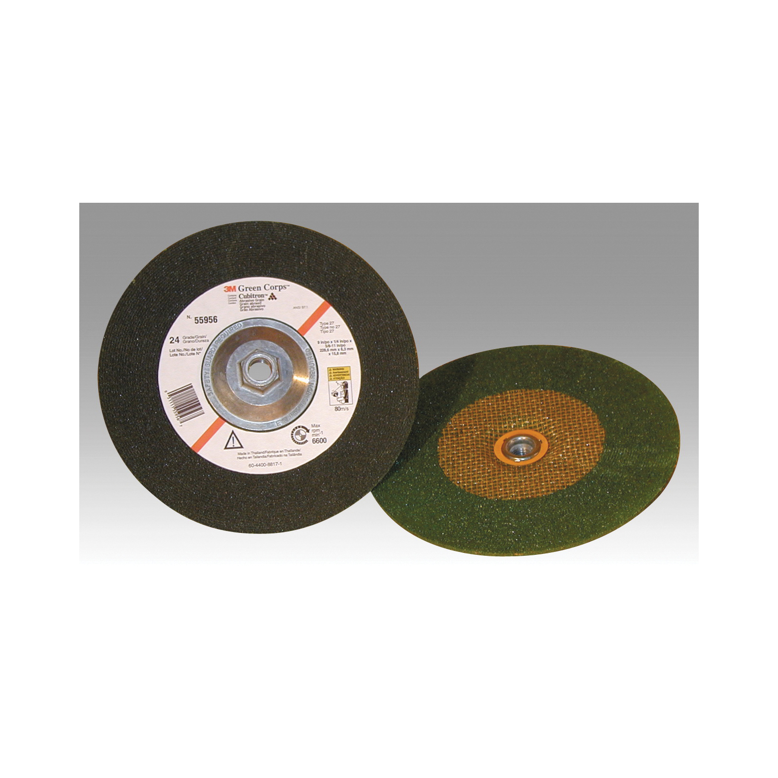 Green Corps™ 051131-01989 Straight Cut-Off Wheel, 3 in Dia x 1/32 in THK, 3/8 in Center Hole, Ceramic Abrasive