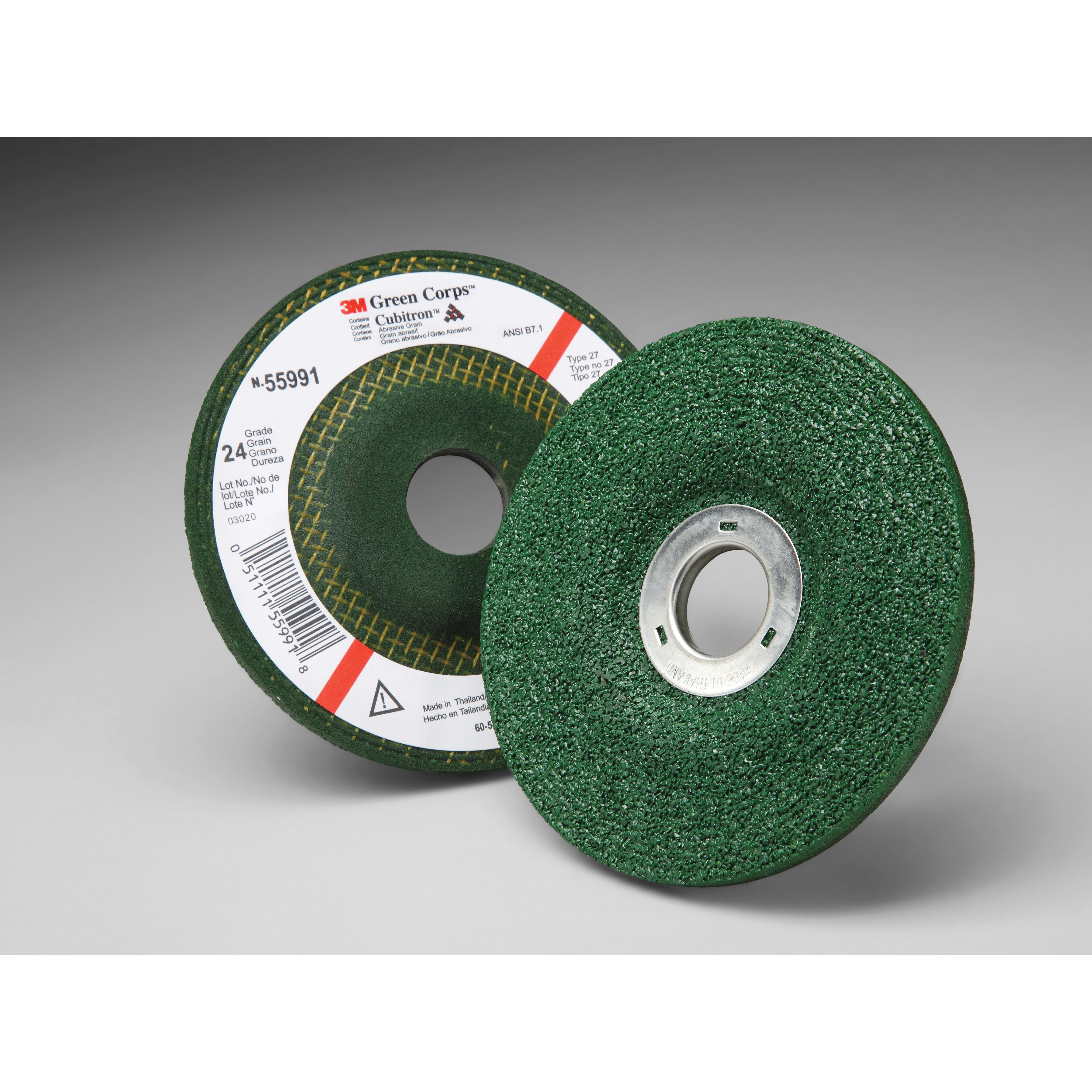 Green Corps™ 051111-55960 Depressed Center Wheel, 4-1/2 in Dia x 1/4 in THK, 24 Grit, Ceramic Abrasive