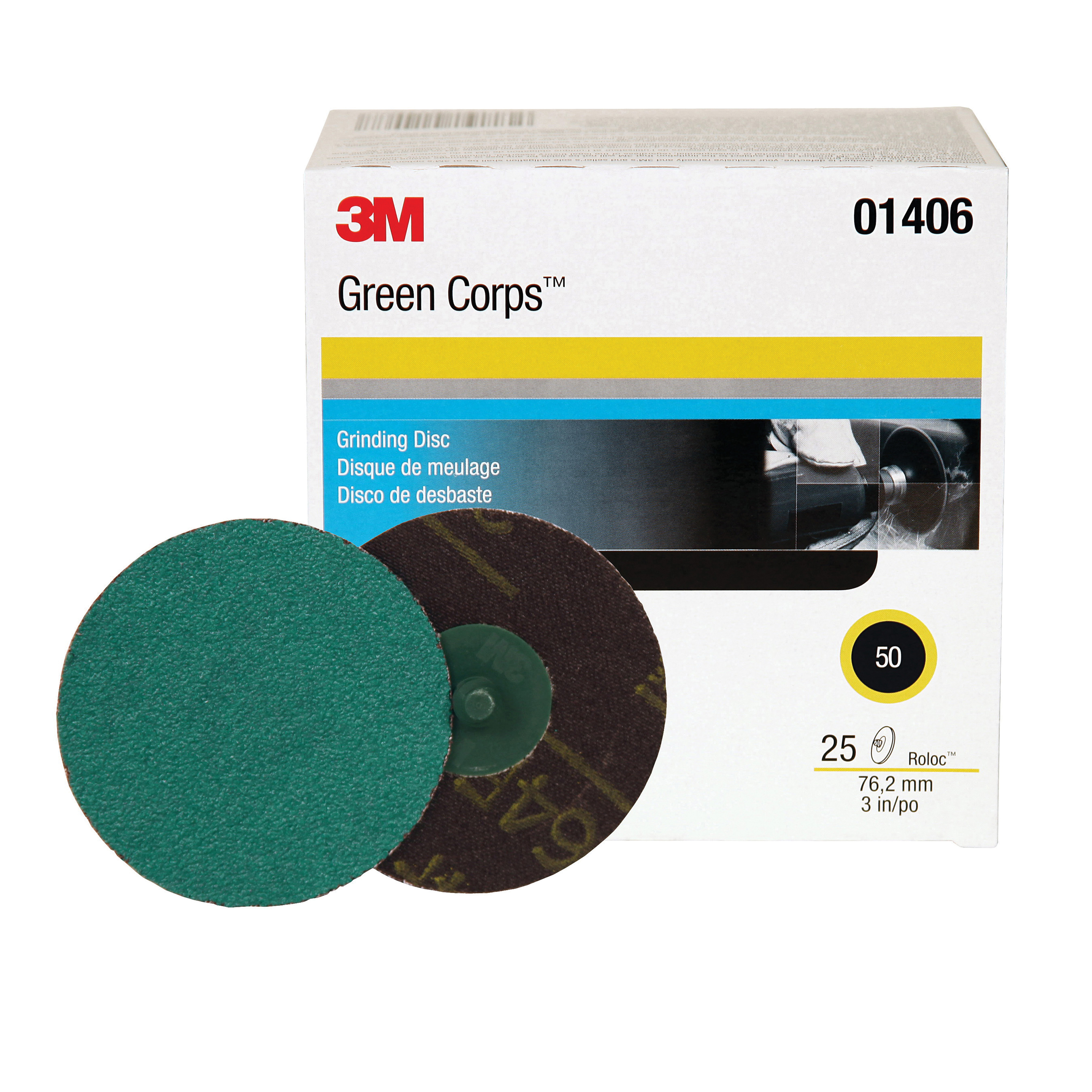 Green Corps™ Roloc™ 051131-01396 264F Quick-Change Coated Abrasive Disc, 2 in Dia Disc, 50 Grit, Coarse Grade, Aluminum Oxide Abrasive, Roloc™ Attachment
