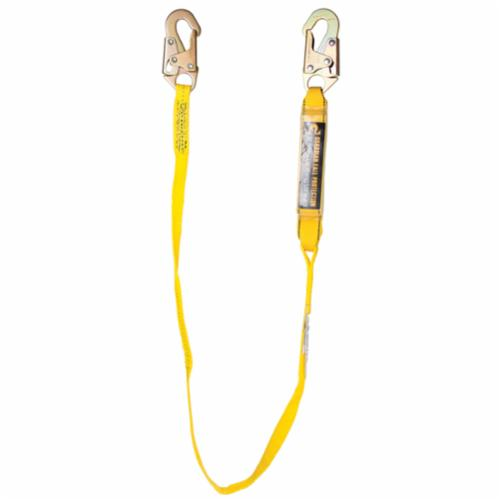GUARDIAN FALL PROTECTION 01221 External Shock Lanyard, 130 to 310 lb Load Capacity, 6 ft L, Nylon/Polyester Line, 1 Legs, Snap Hook Anchorage Connection, Rebar Hook Harness Connection Hook
