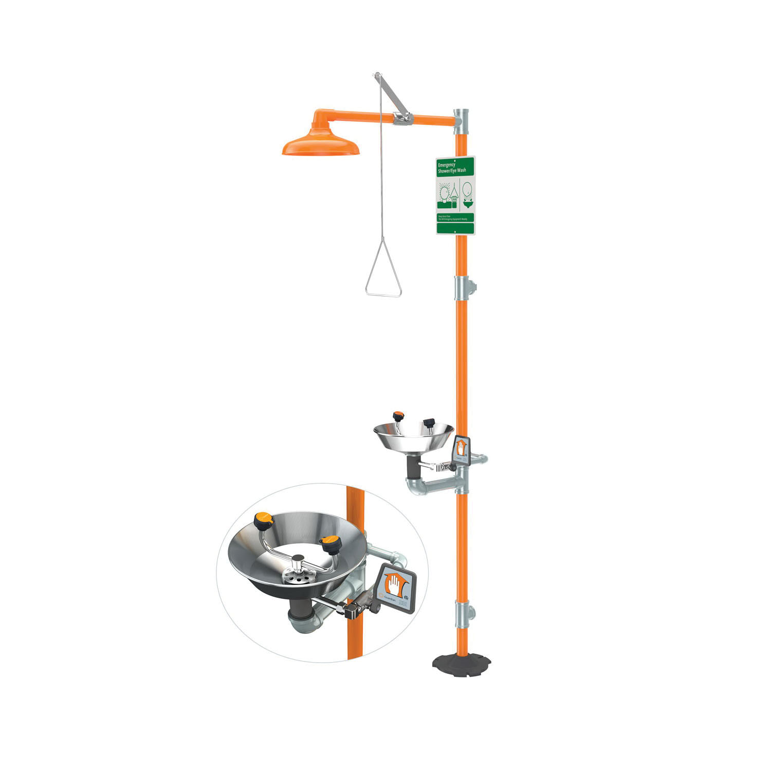 Guardian G1902 Combination Eyewash and Shower Safety Unit, Stainless Steel Eyewash Bowl, ABS Plastic Shower Head, Floor Mounting, Pull Rod Handle Operation, Specifications Met: ANSI Z358.1-2014, cUPC 8116