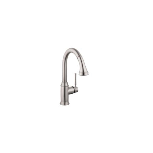 Hansgrohe 04215800 Talis C Pull Down Kitchen Faucet, 1.75 gpm Flow Rate, Steel Optik, 1 Handles, 1 Faucet Holes, Function: Traditional, Residential