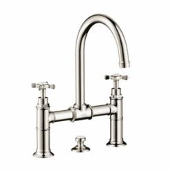 AXOR 16510831 Montreux Widespread Bathroom Faucet, 1.2 gpm, 8-7/8 in H Spout, 8 in Center, 2 Handles, Pop-Up Drain, Polished Nickel, Commercial
