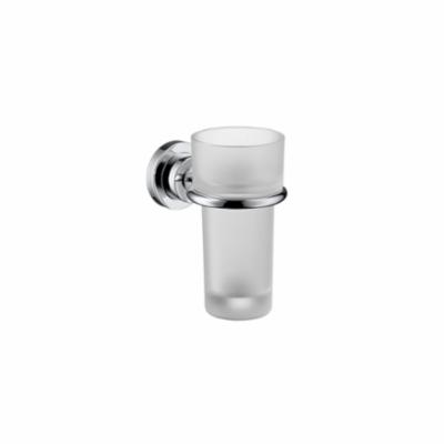AXOR 41734820 Citterio Tumbler and Holder, 5-3/8 in H, Crystal Glass/Solid Brass, Brushed Nickel, Import