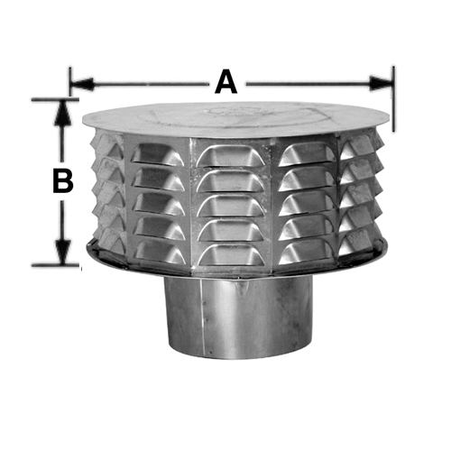 AmeriVent® 4CW Louvered Universal Cap, Aluminum, Fits Duct Size: 4 in, 6-3/4 in W x 4-3/8 in H Cap, Import