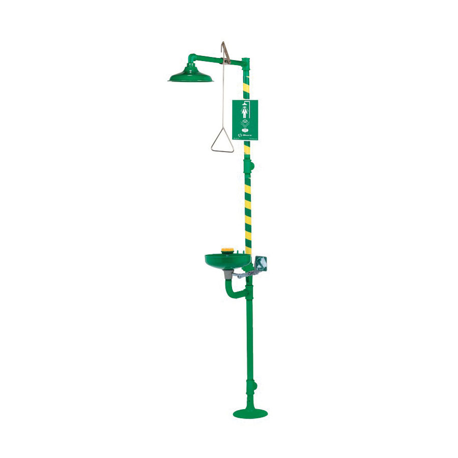 Haws® AXION® MSR 8320-8325 Combination Emergency Shower and Eyewash Unit, ABS Plastic Eyewash Bowl, ABS Plastic Shower Head, Floor Mounting, Pull Rod Handle Operation, Specifications Met: ANSI Z358.1-2009, cCSAus Certified