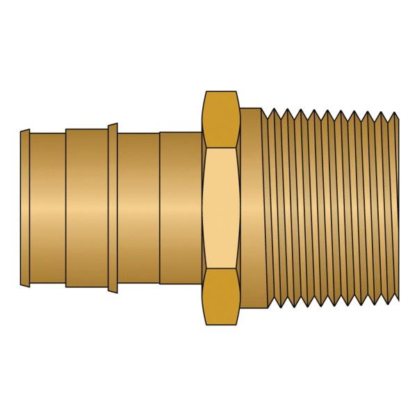 HeatLink® EX27528NL EX27500NL Adapter, 1 in Nominal, PEX F1960 x MNPT End Style, Brass, Domestic