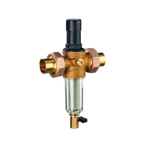 Honeywell DialSet® FK06-102-DUS-LF Pressure Regulating Valve With Filter Combination, 1 in, Double Union C, 25 to 90 psi, 28.14 gpm, Brass Body