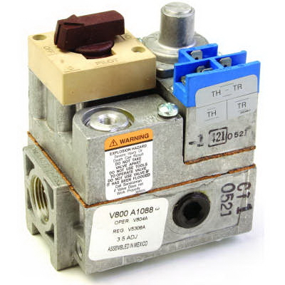 Honeywell V800A1088/U 1-Stage Gas Valve, 3/4 in, NPT, 0.5 psi, Standing Pilot Ignition, 34000 to 425000 Btu/hr Nominal, Import