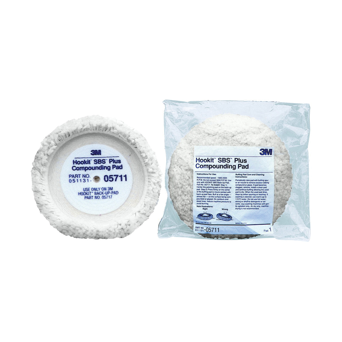Finesse-it™ 051111-60527 02648B Regular Buffing Pad, 3-1/4 in OAD, Hook and Loop Attachment, Foam Pad