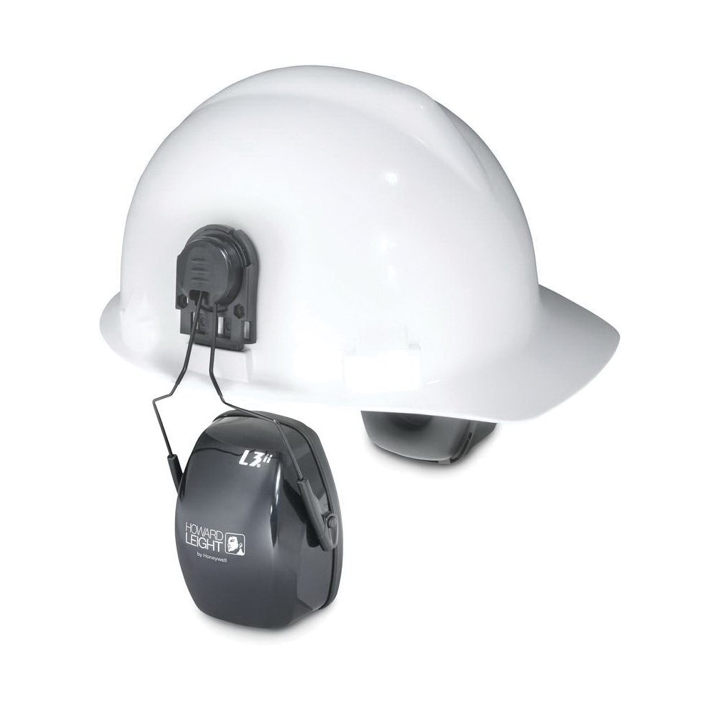 Howard Leight by Honeywell 1011603 Thunder® T3H Dielectric Hard Hat Earmuffs With Hard Hats Adapter, 27 dB Noise Reduction, Black, ANSI S3.19-1974