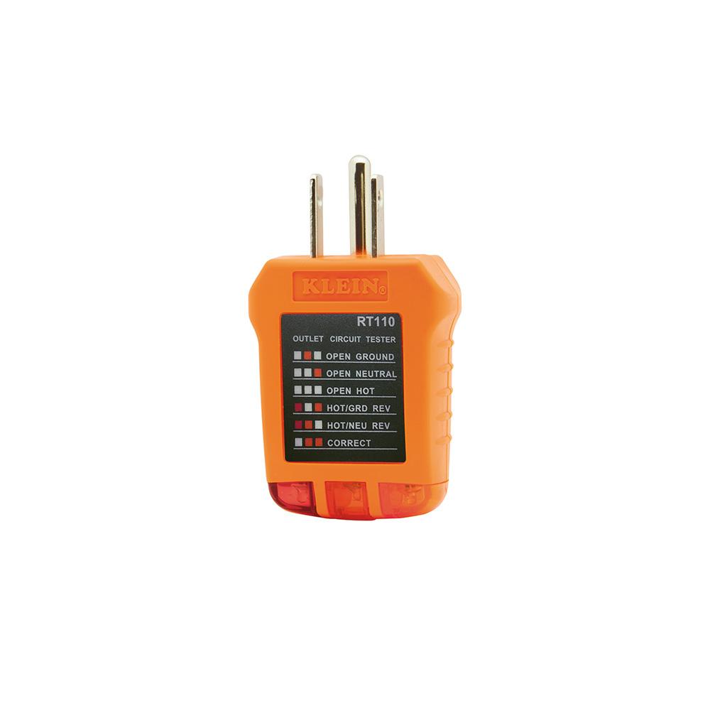 Klein® RT100 Receptacle Tester, 120/125 VAC, 50/60 Hz