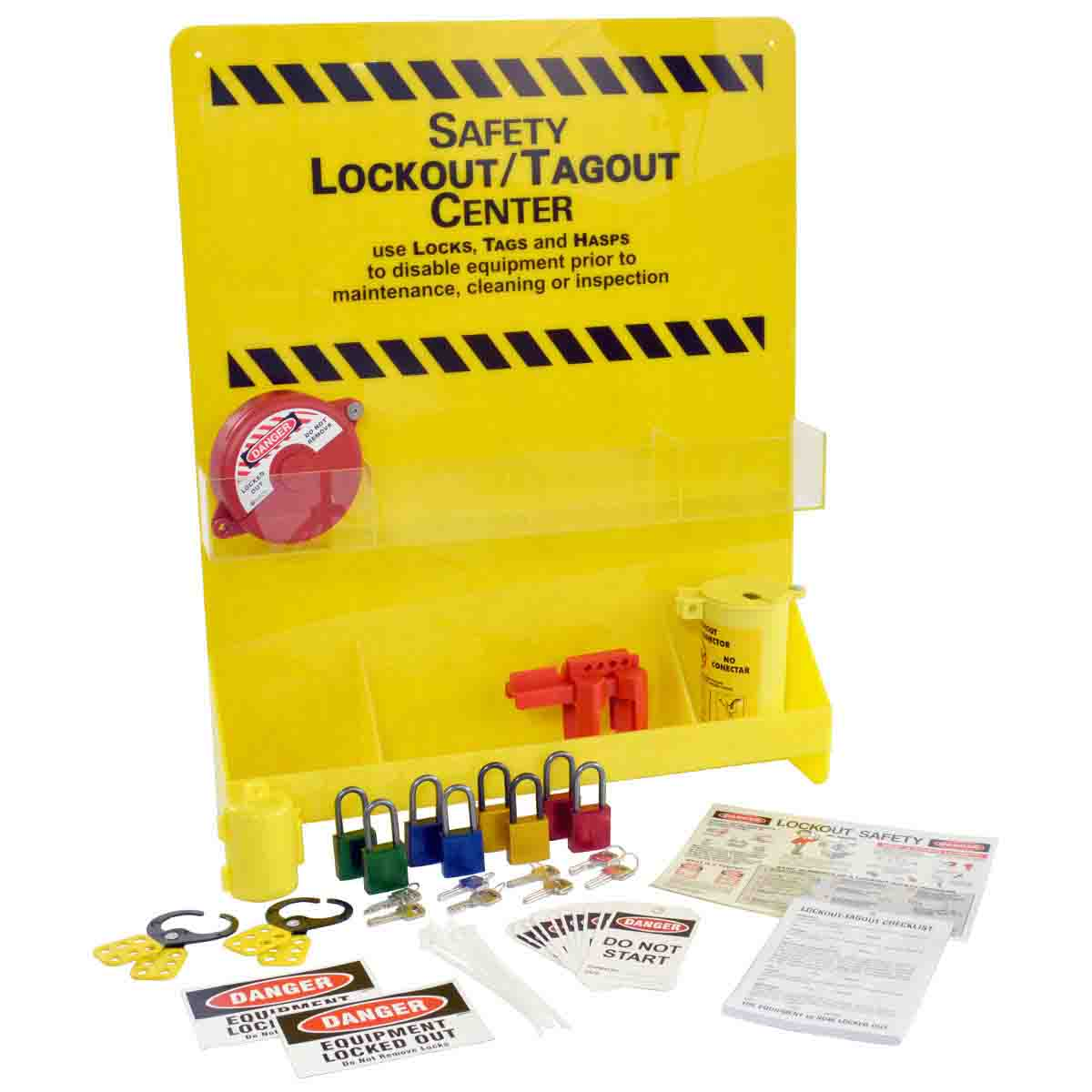 Brady® Prinzing® LC251M Industrial Strength Lockout Station, Filled, 18 Pieces, 6 Padlocks, 16 in H x 14 in W x 6 in D, Wall Mount, Language: English