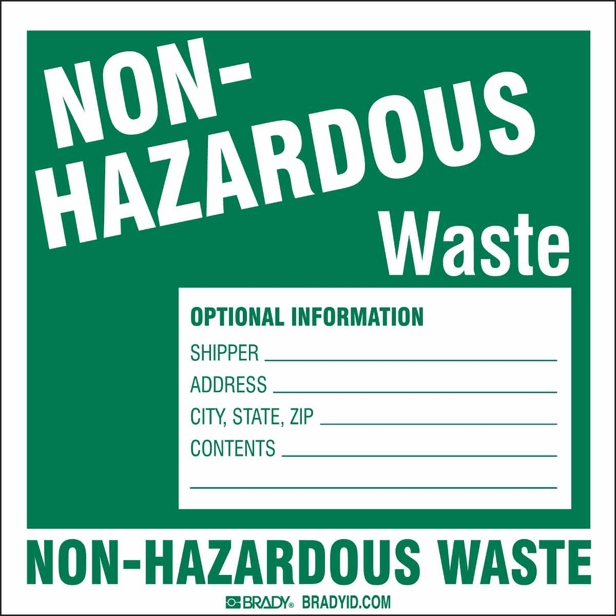 Brady® 121151 Non-Reflective Self-Adhesive Square Hazardous Waste Label, 6 in W, Black/Red on Yellow, B-7569 Adhesive Vinyl Film, 100 per Pack Labels