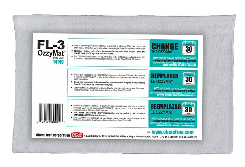 SmartWasher® 14124 OzzyMat FL-4 Biodegradable Non-Flammable Multi-Layer Filter With Granular Powder, 1 Unit Bottle, Brown, Flanged Form