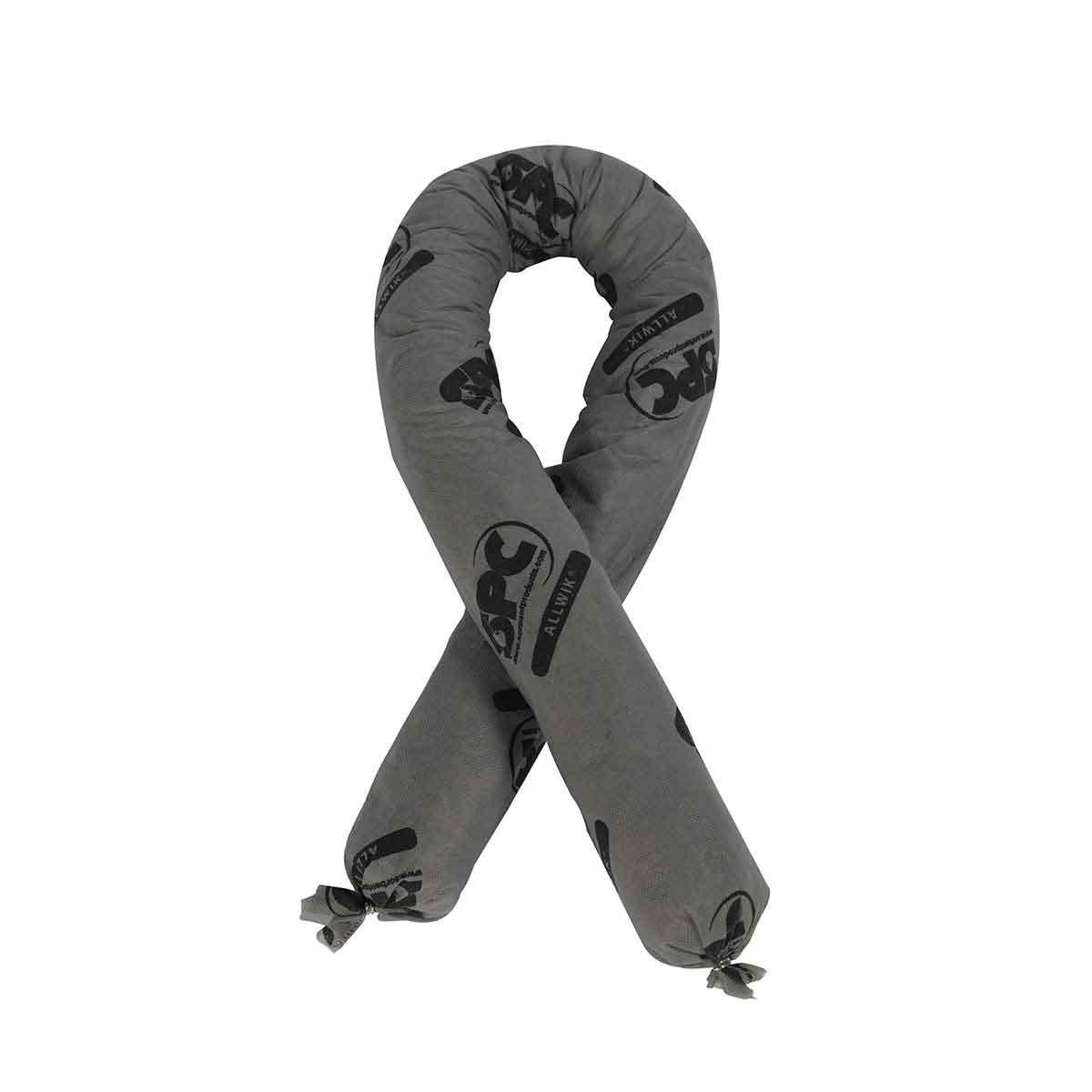 SPC® AllWik® AW412 All Purpose Flexi-Sock Absorbent Sock, 3 in Dia x 4 ft L, 12 gal Absorption, Fluids Absorbed: Universal, Polypropylene, Gray