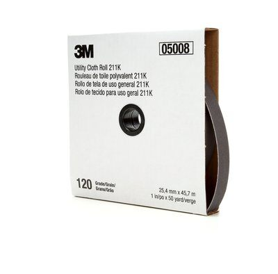 3M™ 05002 211K Lightweight Utility Closed Coated Abrasive Roll, 50 yd L x 1 in W, 320 Grit, Extra Fine Grade, Aluminum Oxide Abrasive, Cloth Backing