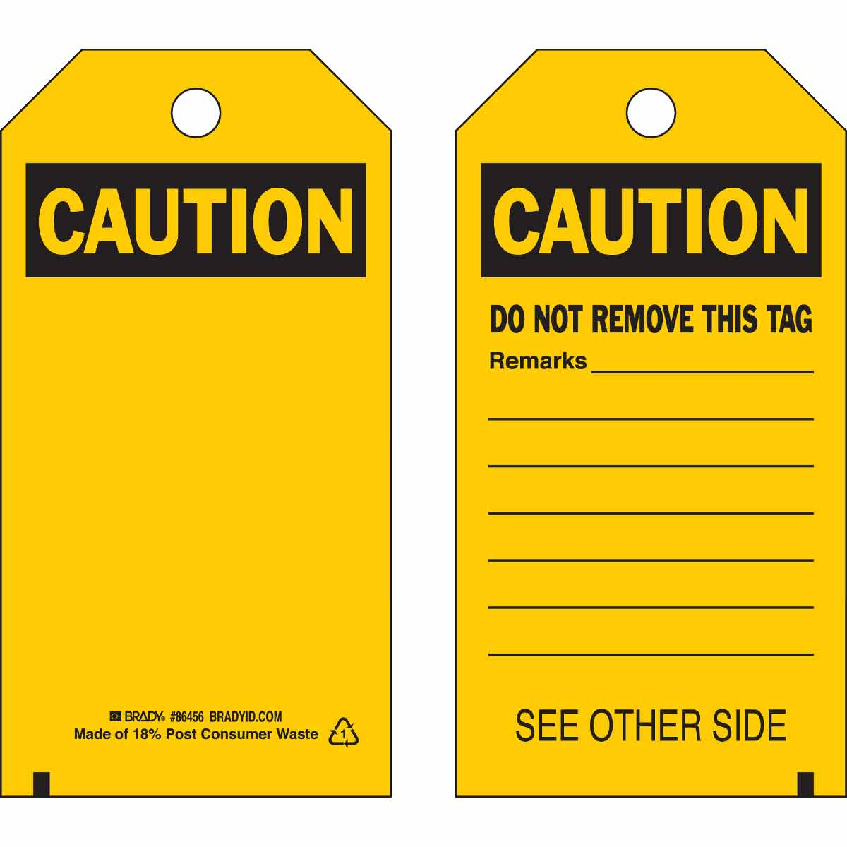 Brady® 86445 Laminated Rectangular Inspection and Material Control Tag, 5-3/4 in H x 3 in W, Black on Yellow, 3/8 in Hole, B-837 Heavy Duty Polyester