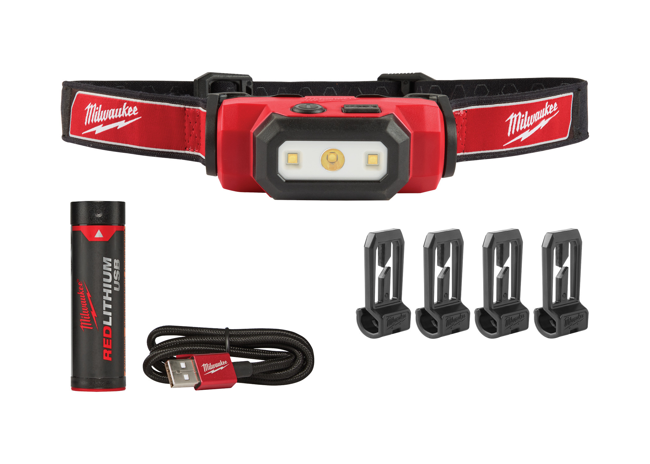 Milwaukee® 2111-21 Hard Hat USB Rechargeable Headlamp, LED Bulb, Plastic Housing, 475 Lumens Lumens